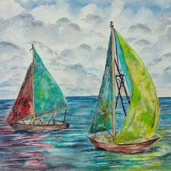 colourful sailboats in water, 12 x 9 inch, bharathi sivakumar,nature paintings,abstract expressionist paintings,impressionist paintings,arches paper,pencil color,watercolor,12x9inch,GAL0963019843Nature,environment,Beauty,scenery,greenery