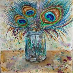 peacock feathers in glass jar, 10 x 13 inch, bharathi sivakumar,paintings,still life paintings,arches paper,watercolor,mixed media,10x13inch,GAL0963019844