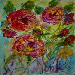 abstract roses, 10 x 14 inch, bharathi sivakumar,paintings,abstract paintings,flower paintings,arches paper,watercolor,10x14inch,GAL0963019845