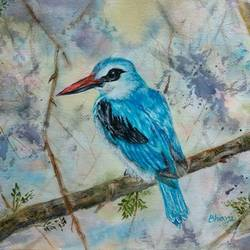 woodland kingfisher, 12 x 9 inch, bharathi sivakumar,wildlife paintings,nature paintings,animal paintings,arches paper,mixed media,watercolor,12x9inch,GAL0963019850Nature,environment,Beauty,scenery,greenery