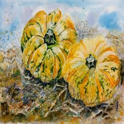decorative fall pumpkins, 13 x 10 inch, bharathi sivakumar,paintings,abstract paintings,arches paper,pencil color,watercolor,13x10inch,GAL0963019851