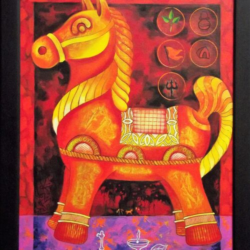 wish fulfillment horse, 24 x 30 inch, sunil chawdiker,paintings,figurative paintings,folk art paintings,conceptual paintings,religious paintings,animal paintings,horse paintings,paintings for dining room,paintings for living room,paintings for bedroom,paintings for office,paintings for kids room,paintings for hotel,paintings for school,canvas,acrylic color,24x30inch,GAL0987319877