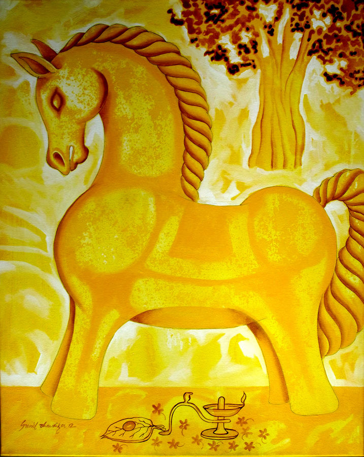 yellow horse, 24 x 30 inch, sunil chawdiker,paintings,figurative paintings,conceptual paintings,animal paintings,horse paintings,paintings for dining room,paintings for living room,paintings for bedroom,paintings for office,paintings for kids room,paintings for hotel,paintings for kitchen,paintings for school,paintings for hospital,canvas,acrylic color,24x30inch,GAL0987319878