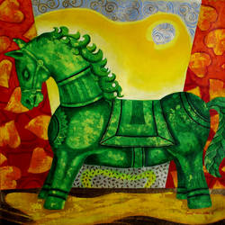 green horse, 27 x 27 inch, sunil chawdiker,paintings,figurative paintings,animal paintings,horse paintings,paintings for dining room,paintings for living room,paintings for bedroom,paintings for office,paintings for hotel,paintings for school,canvas,acrylic color,27x27inch,GAL0987319879