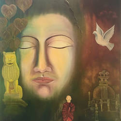 buddha, 30 x 36 inch, rajesh sharma,paintings,buddha paintings,canvas,oil,30x36inch,religious,peace,meditation,meditating,gautam,goutam,buddha,lord,monk,face,bird,temple,GAL050819884