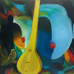 meera abstract, 36 x 24 inch, rajesh sharma,paintings,abstract paintings,paintings for dining room,paintings for living room,paintings for bedroom,paintings for office,paintings for hotel,paintings for school,paintings for hospital,canvas,oil,36x24inch,GAL050819887