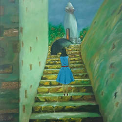 steps to destiny, 24 x 36 inch, rajesh sharma,paintings,figurative paintings,landscape paintings,paintings for dining room,paintings for living room,paintings for bedroom,paintings for office,paintings for kids room,paintings for hotel,paintings for school,paintings for hospital,paintings for dining room,paintings for living room,paintings for bedroom,paintings for office,paintings for kids room,paintings for hotel,paintings for school,paintings for hospital,canvas,oil,24x36inch,GAL050819888