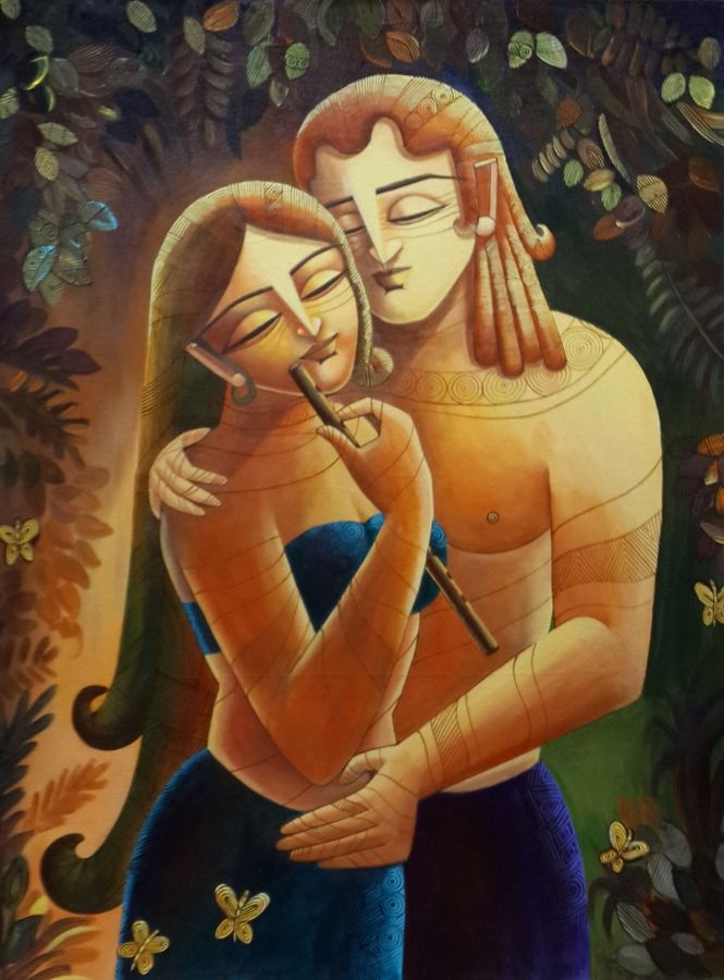 radha & krishna -2, 27 x 35 inch, devirani dasgupta,figurative paintings,religious paintings,paintings for living room,paintings for bedroom,paintings for office,radha krishna paintings,love paintings,vertical,canvas board,acrylic color,27x35inch,krishna,lord,religious,love,couple,flute,music,modernart,GAL03971989heart,family,caring,happiness,forever,happy,trust,passion,romance,sweet,kiss,love,hugs,warm,fun,kisses,joy,friendship,marriage,chocolate,husband,wife,forever,caring,couple,sweetheart,krishna,Lord krishna,krushna,radha krushna,flute,peacock feather,melody,peace,religious,god,love,romance