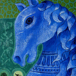 blue horse, 13 x 19 inch, sunil chawdiker,paintings,figurative paintings,animal paintings,horse paintings,paintings for dining room,paintings for living room,paintings for bedroom,paintings for office,paintings for hotel,paintings for school,canvas,acrylic color,13x19inch,GAL0987319891