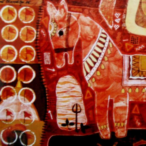 red horse iii, 22 x 14 inch, sunil chawdiker,paintings,figurative paintings,animal paintings,horse paintings,paintings for dining room,paintings for living room,paintings for bedroom,paintings for office,paintings for bathroom,paintings for hotel,thick paper,acrylic color,22x14inch,GAL0987319893