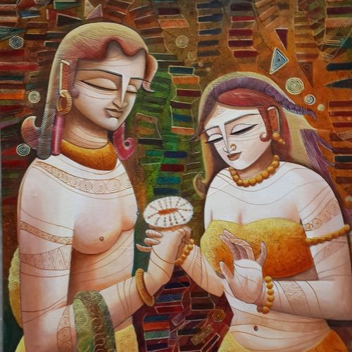 radha & krishna -3, 25 x 33 inch, devirani dasgupta,figurative paintings,religious paintings,paintings for living room,paintings for bedroom,paintings for office,radha krishna paintings,love paintings,canvas board,acrylic color,25x33inch,GAL03971990heart,family,caring,happiness,forever,happy,trust,passion,romance,sweet,kiss,love,hugs,warm,fun,kisses,joy,friendship,marriage,chocolate,husband,wife,forever,caring,couple,sweetheart,krishna,Lord krishna,krushna,radha krushna,flute,peacock feather,melody,peace,religious,god,love,romance