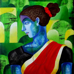 woman in the wood, 18 x 20 inch, sunil chawdiker,paintings,figurative paintings,nature paintings,paintings for dining room,paintings for living room,paintings for bedroom,paintings for office,paintings for hotel,canvas,acrylic color,18x20inch,GAL0987319901Nature,environment,Beauty,scenery,greenery