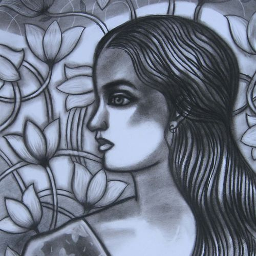 girl with lotus flowers- i, 11 x 22 inch, sunil chawdiker,drawings,paintings for dining room,paintings for living room,paintings for bedroom,paintings for office,paintings for bathroom,paintings for hotel,figurative drawings,paintings for dining room,paintings for living room,paintings for bedroom,paintings for office,paintings for bathroom,paintings for hotel,ivory sheet,charcoal,11x22inch,GAL0987319905