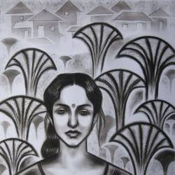 woman in the wood, 22 x 28 inch, sunil chawdiker,drawings,figurative drawings,paintings for dining room,paintings for living room,paintings for bedroom,paintings for office,paintings for bathroom,paintings for hotel,ivory sheet,charcoal,22x28inch,GAL0987319907