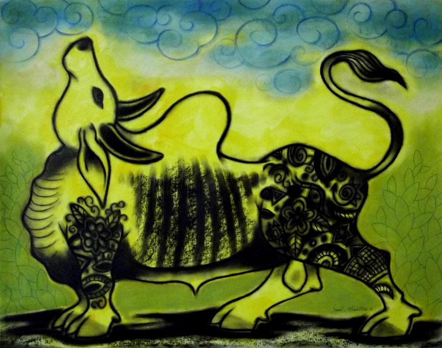 bull, 28 x 22 inch, sunil chawdiker,drawings,figurative drawings,paintings for dining room,paintings for living room,paintings for bedroom,paintings for office,paintings for bathroom,paintings for hotel,thick paper,acrylic color,charcoal,pastel color,28x22inch,GAL0987319908