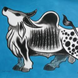 bull -ii, 28 x 22 inch, sunil chawdiker,drawings,figurative drawings,paintings for dining room,paintings for living room,paintings for bedroom,paintings for office,paintings for hotel,thick paper,acrylic color,charcoal,28x22inch,GAL0987319909