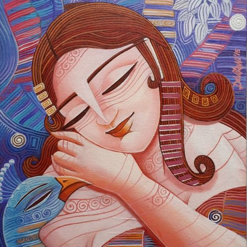 queen - 3, 12 x 16 inch, devirani dasgupta,figurative paintings,paintings for living room,paintings for bedroom,vertical,canvas,acrylic color,12x16inch,GAL03971991