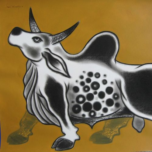 bull -iv, 28 x 22 inch, sunil chawdiker,drawings,figurative drawings,paintings for dining room,paintings for living room,paintings for bedroom,paintings for office,paintings for hotel,paintings for school,thick paper,acrylic color,charcoal,28x22inch,GAL0987319910