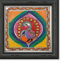 tradition madhubani painting of peacock on hand made paper by pratibha kiran, 14 x 12 inch, pratibha kiran,paintings,madhubani paintings,paintings for dining room,paintings for living room,paintings for bedroom,paintings for office,paintings for hotel,handmade paper,acrylic color,14x12inch,GAL0639519911