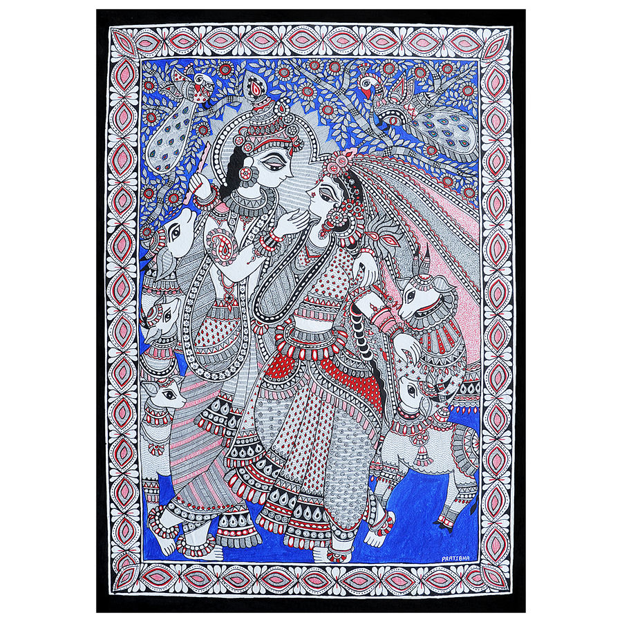 radha krishna exclusive madhubani painting (line painting) on hand made paper, 20 x 24 inch, pratibha kiran,paintings,folk art paintings,religious paintings,radha krishna paintings,love paintings,madhubani paintings,paintings for dining room,paintings for living room,paintings for bedroom,paintings for office,paintings for hotel,handmade paper,acrylic color,20x24inch,GAL0639519916,radhakrishna,love,pece,lordkrishna,,lordradha,peace,flute,music,radha,krishna,devotion,coupleheart,family,caring,happiness,forever,happy,trust,passion,romance,sweet,kiss,love,hugs,warm,fun,kisses,joy,friendship,marriage,chocolate,husband,wife,forever,caring,couple,sweetheart