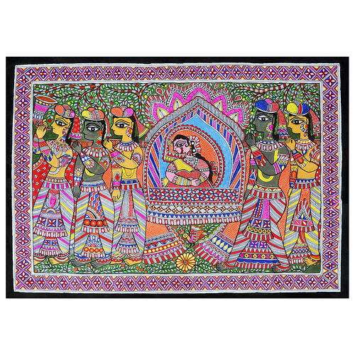 doli kahar exclusive madhubani painting (line painting) on hand made paper, 20 x 24 inch, pratibha kiran,paintings,folk art paintings,madhubani paintings,paintings for dining room,paintings for living room,paintings for bedroom,paintings for office,paintings for hotel,handmade paper,acrylic color,20x24inch,GAL0639519917