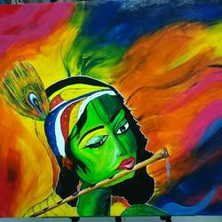 krishna, 28 x 24 inch, priyavrath dakua,paintings,abstract paintings,folk art paintings,modern art paintings,religious paintings,radha krishna paintings,paintings for dining room,paintings for living room,paintings for office,paintings for kids room,canvas,acrylic color,oil,28x24inch,GAL0955919919,krishna,love,pece,lordkrishna,,lord,peace,flute,music,krishna,devotion,couple