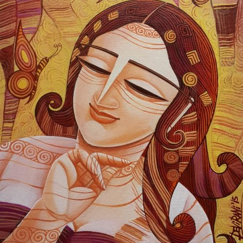 queen - 4, 12 x 16 inch, devirani dasgupta,figurative paintings,paintings for bedroom,paintings for office,vertical,canvas,acrylic color,12x16inch,GAL03971992