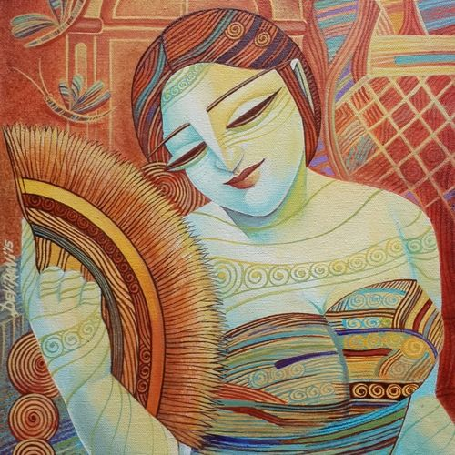 queen - 5, 12 x 16 inch, devirani dasgupta,figurative paintings,paintings for bedroom,paintings for office,vertical,canvas,acrylic color,12x16inch,GAL03971993