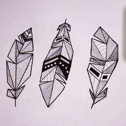 geometric zentangle feathers, 10 x 12 inch, nidhi nehra,drawings,modern drawings,paintings for living room,paintings for bedroom,drawing paper,charcoal,ball point pen,10x12inch,GAL0998219931