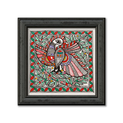 madhubani painting on hand made paper, line painting of peacock, 12 x 12 inch, pratibha kiran,paintings,folk art paintings,nature paintings,animal paintings,madhubani paintings,paintings for dining room,paintings for living room,paintings for bedroom,paintings for office,paintings for kids room,paintings for hotel,paintings for school,handmade paper,acrylic color,12x12inch,GAL0639519936Nature,environment,Beauty,scenery,greenery