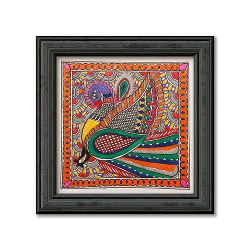 madhubani painting on hand made paper, depiction of colourful peacock, 12 x 12 inch, pratibha kiran,paintings,folk art paintings,animal paintings,madhubani paintings,paintings for dining room,paintings for living room,paintings for bedroom,paintings for office,paintings for hotel,paintings for school,paintings for dining room,paintings for living room,paintings for bedroom,paintings for office,paintings for hotel,paintings for school,handmade paper,acrylic color,12x12inch,GAL0639519938