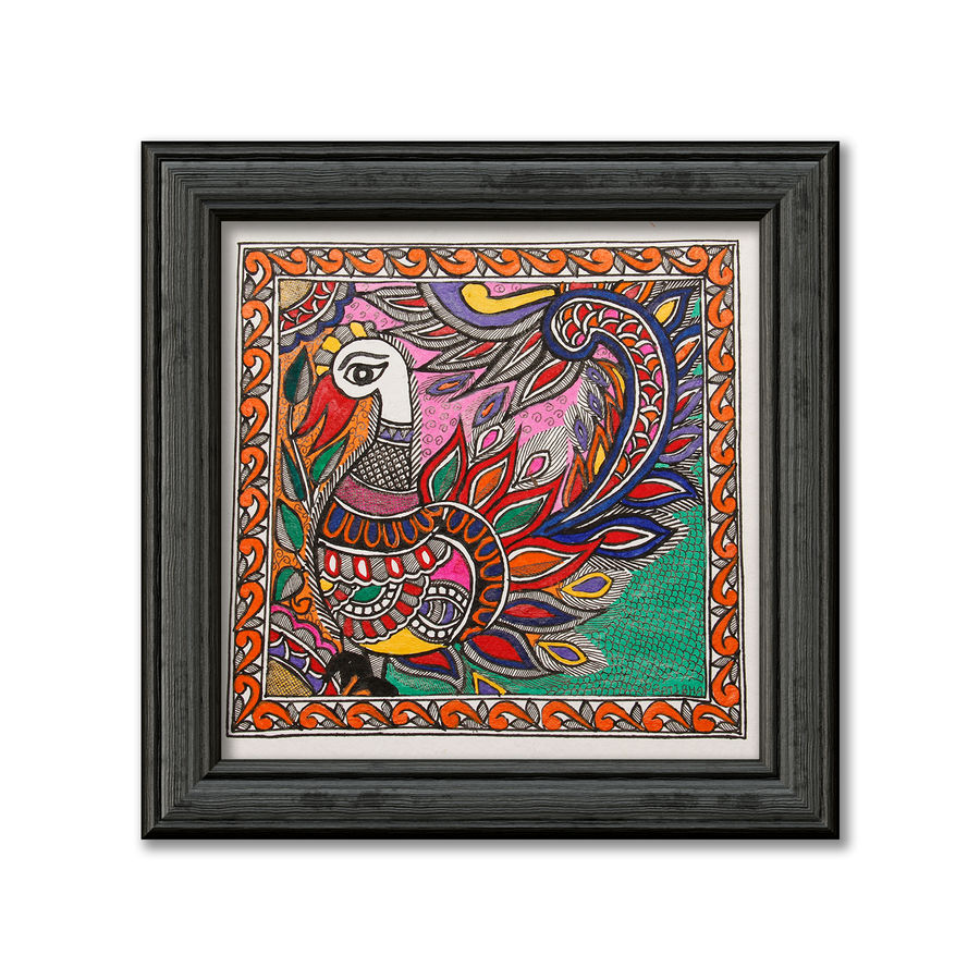 Madhubani painting on hand made paper depiction of colourful peacock 1