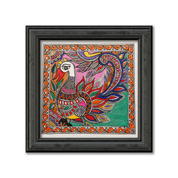 madhubani painting on hand made paper, depiction of colourful peacock, 12 x 12 inch, pratibha kiran,paintings,folk art paintings,nature paintings,animal paintings,madhubani paintings,paintings for dining room,paintings for living room,paintings for bedroom,paintings for office,paintings for hotel,paintings for school,handmade paper,acrylic color,12x12inch,GAL0639519939Nature,environment,Beauty,scenery,greenery