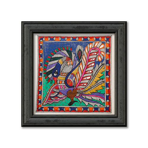 madhubani painting on hand made paper, depiction of colourful peacock,exclusive design., 12 x 12 inch, pratibha kiran,paintings,folk art paintings,madhubani paintings,paintings for dining room,paintings for living room,paintings for bedroom,paintings for office,paintings for kids room,paintings for hotel,paintings for school,handmade paper,acrylic color,12x12inch,GAL0639519940