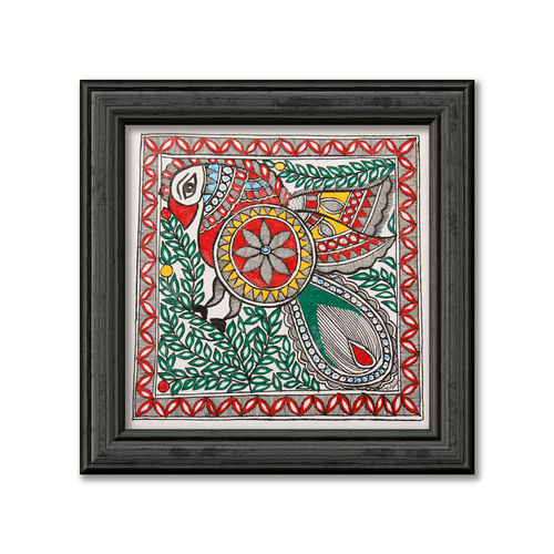 madhubani painting on hand made paper,multi colour painting of peacock, 12 x 12 inch, pratibha kiran,paintings,folk art paintings,paintings for dining room,paintings for living room,paintings for bedroom,paintings for office,paintings for hotel,paintings for school,handmade paper,acrylic color,12x12inch,GAL0639519941
