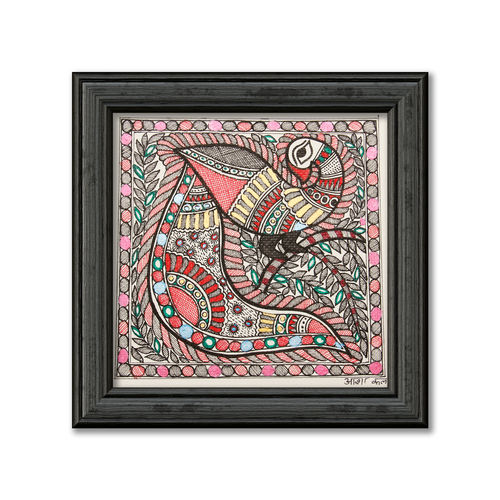 madhubani painting on hand made paper, depiction of colourful peacock, 12 x 12 inch, pratibha kiran,paintings,folk art paintings,madhubani paintings,paintings for dining room,paintings for living room,paintings for bedroom,paintings for office,paintings for bathroom,paintings for school,handmade paper,acrylic color,12x12inch,GAL0639519942
