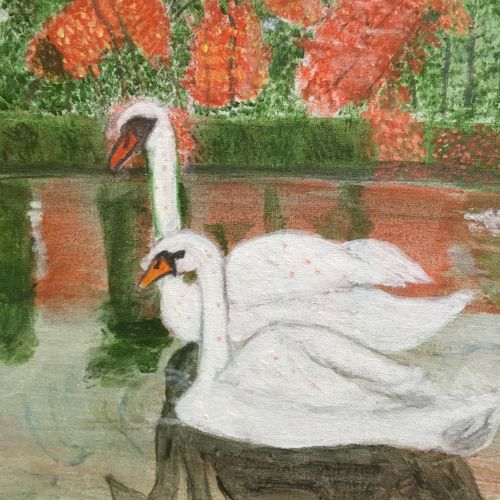 pair of swans, 16 x 12 inch, saradha devi prabhakaran,paintings,conceptual paintings,nature paintings,paintings for living room,paintings for bedroom,paintings for living room,paintings for bedroom,canvas board,acrylic color,16x12inch,GAL0798819945Nature,environment,Beauty,scenery,greenery