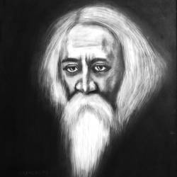 rabindranaath tagore , 24 x 30 inch, amyhearts artist,paintings,portrait paintings,canvas,charcoal,24x30inch,GAL0993419954