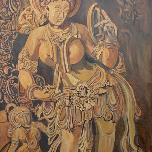 lady with mirror, 29 x 45 inch, ajay harit,paintings,figurative paintings,portrait paintings,paintings for dining room,paintings for living room,paintings for bedroom,paintings for hotel,canvas,oil,29x45inch,GAL0199819959