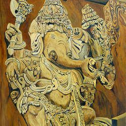 majestic ganesha, 30 x 45 inch, ajay harit,paintings,religious paintings,ganesha paintings,paintings for dining room,paintings for living room,paintings for office,paintings for hotel,paintings for school,paintings for hospital,canvas,oil,30x45inch,GAL0199819960,vinayak,ekadanta,ganpati,lambodar,peace,devotion,religious,lord ganesha,lordganpati,ganpati,ganesha,lord ganesh,elephant god,religious,ganpati bappa morya,mouse,mushakraj,ladoo,sweets,ganpati bappa morya,ganesh chaturthi,ganesh murti,elephant god,religious,lord ganesh,ganesha,om,hindu god,shiv parvati, putra,bhakti,blessings,aashirwad,pooja,puja,aarti,ekdant,vakratunda,lambodara,bhalchandra,gajanan,vinayak,prathamesh,vignesh,heramba,siddhivinayak,mahaganpati,omkar,mushak,mouse,ladoo,modak,