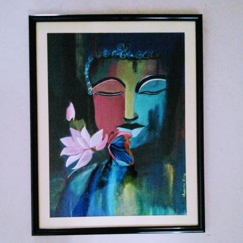 framed abstract buddha, 10 x 12 inch, suparna shenoy,paintings,abstract paintings,paintings for dining room,paintings for living room,paintings for bedroom,paintings for office,paintings for kids room,paintings for hotel,canvas,acrylic color,10x12inch,GAL0999819961