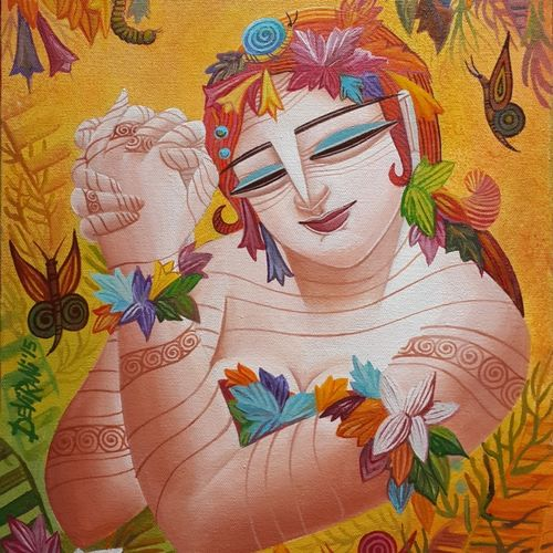 queen – 6, 12 x 16 inch, devirani dasgupta,figurative paintings,paintings for bedroom,paintings for office,vertical,canvas,acrylic color,12x16inch,GAL03971997