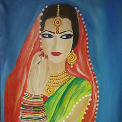 the bride, 24 x 36 inch, tarang mishra,paintings,expressionist paintings,paintings for dining room,paintings for living room,paintings for bedroom,fabriano sheet,oil,24x36inch,GAL0839519972