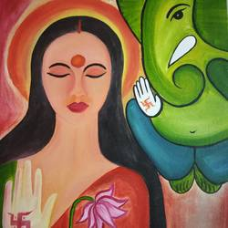 modern ganesha & luxmi, 16 x 20 inch, tarang mishra,paintings,modern art paintings,paintings for dining room,paintings for living room,paintings for office,paintings for kids room,paintings for hotel,paintings for kitchen,paintings for hospital,canvas,oil,16x20inch,GAL0839519973