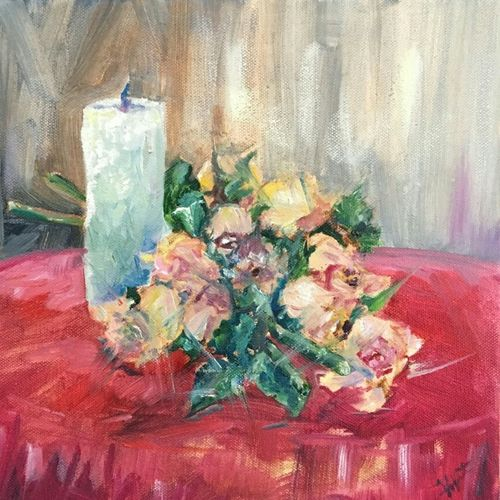 their persistence is in ful bloom , 12 x 12 inch, vineetha  j.malayil ,conceptual paintings,still life paintings,impressionist paintings,paintings for living room,paintings for office,paintings for hotel,canvas,oil,12x12inch,GAL0201719975