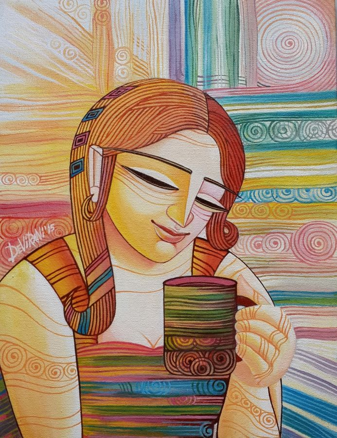 first cuppa, 12 x 16 inch, devirani dasgupta,figurative paintings,paintings for living room,paintings for office,vertical,canvas,acrylic color,12x16inch,GAL03971999