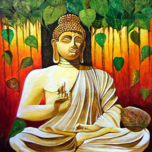 gautam buddha -the enlightened one, 25 x 28 inch, neeraj parswal,buddha paintings,paintings for living room,paintings for office,canvas,acrylic color,25x28inch,religious,peace,meditation,meditating,gautam,goutam,buddha,forest,mudra,GAL012