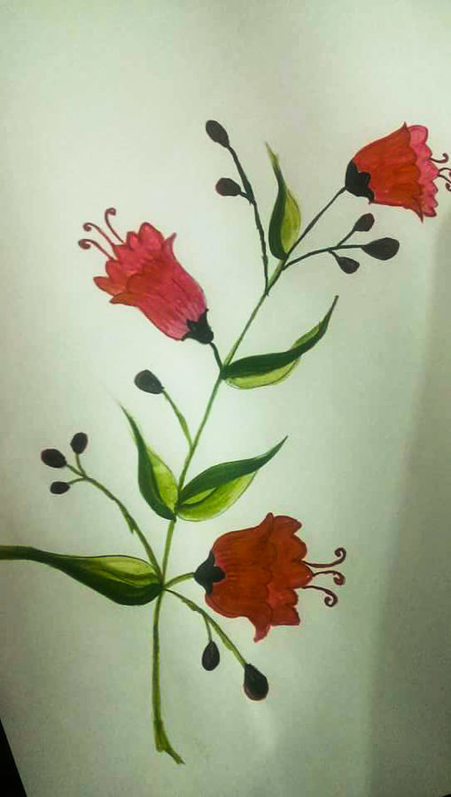 red flower, 8 x 12 inch, geethapriya senthil,flower paintings,paintings for living room,rice paper,acrylic color,8x12inch,GAL076200