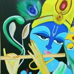 divine krushna, 24 x 30 inch, sucharita nath,paintings,religious paintings,radha krishna paintings,paintings for dining room,paintings for living room,paintings for bedroom,paintings for kids room,paintings for hospital,canvas,acrylic color,24x30inch,GAL0985020004,radhakrishna,love,pece,lordkrishna,,lordradha,peace,flute,music,radha,krishna,devotion,couple