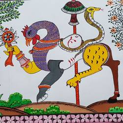 nabagunjara of lord bishnu, 40 x 24 inch, trishna  pattnaik,paintings for dining room,paintings for living room,paintings for bedroom,paintings for office,madhubani paintings,cloth,fabric,40x24inch,GAL01005820006